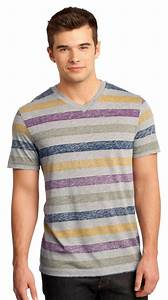 Gildan Tee Color Chart District Young Mens Reverse Striped V Neck Tee