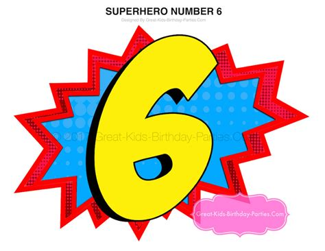 Superhero Number 6 Superhero Printables Superhero Birthday