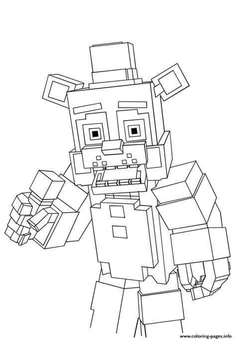 printable minecraft coloring pages minecraft freddy fnaf coloring pages printable