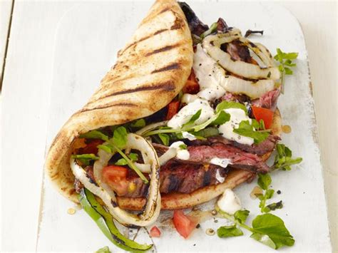 wedges pita grilled skirt steak gyros recipe food network kitchen