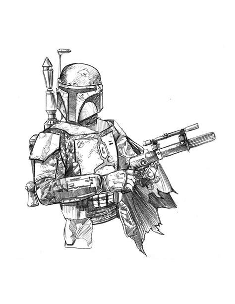 Coloring Pages Star Wars Boba Fett Coloring Page Star