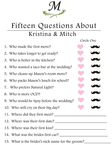 wedding shower questions kaylabelcher the