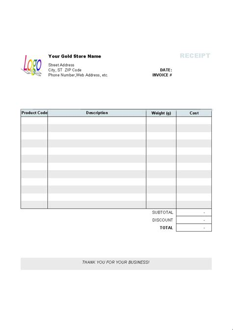 gold shop receipt template invoice manager  excel