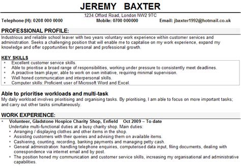 Student Cv Sle Uk by Cv Personal Statement School Leaver Costa Sol Real Estate And Business Advisors