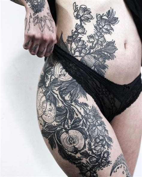 flower thigh tattoo tumblr