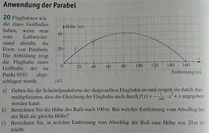 Parabel Rechnung : golfball anwendung der parabel flugbahn eines golfballs ohne luftwiderstand mathelounge ~ Themetempest.com Abrechnung
