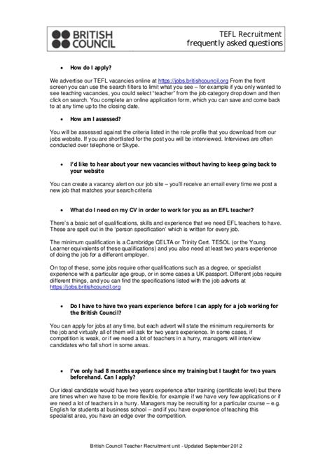 council tefl faq 2012