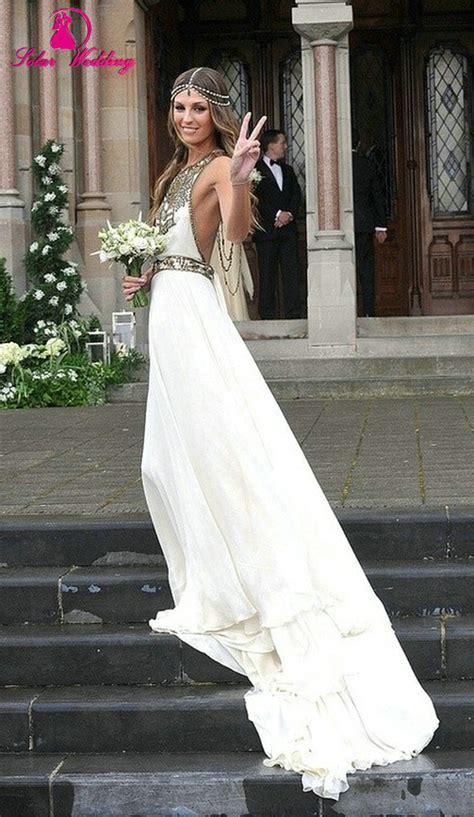 Boho Wedding Dress 2015 Bohemian Off Shoulder Sleeveless