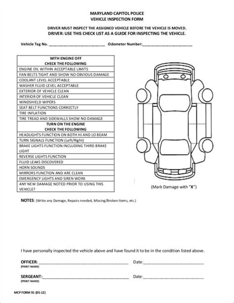 vehicle inspection form template 17 vehicle checklist sles templates sle templates