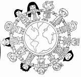 Around Children Coloring Mission Friends Crafts Passport Church sketch template