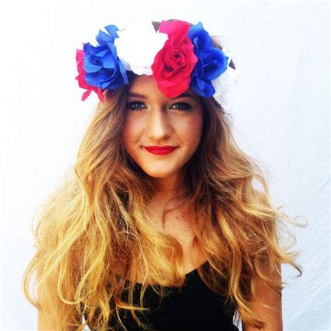 Red White And Blue Flower Crown Roses Floral Headband