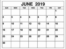 Blank June 2019 Calendar For Word and Cute Template – Free
