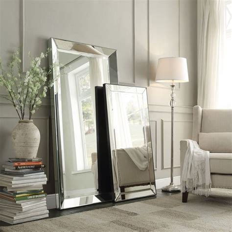 floor mirror mirrored frame conrad bevel mirrored frame rectangular accent wall mirror by inspire q bold by inspire q