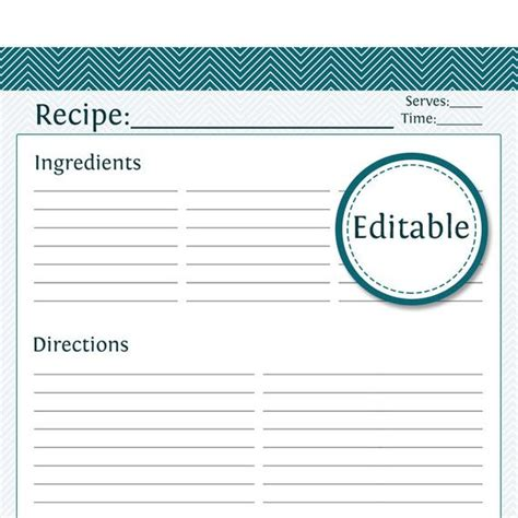 recipe card full page fillable printable  instant