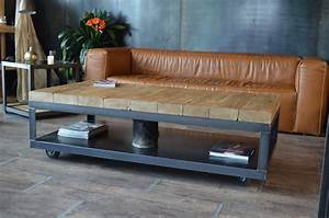 Table Basse Bois Metal : table basse industrielle bois brut vieilli et acier micheli design ~ Teatrodelosmanantiales.com Idées de Décoration