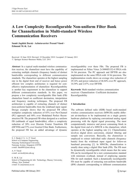 (PDF) A reconfigurable filter bank for uniform and non
