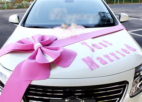Car Decorations - wedding car decorations kit big ribbons pink bows letter