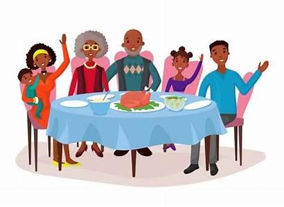 Dinner Table American Vector Happy Afro Cartoon