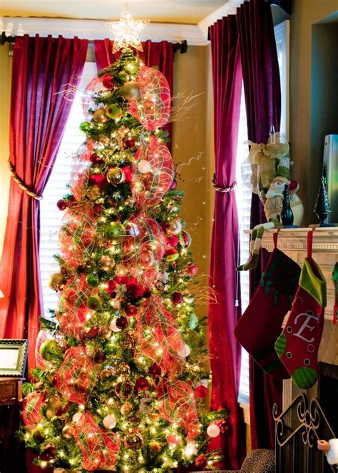 christmas trees decorated with mesh netting deco mesh