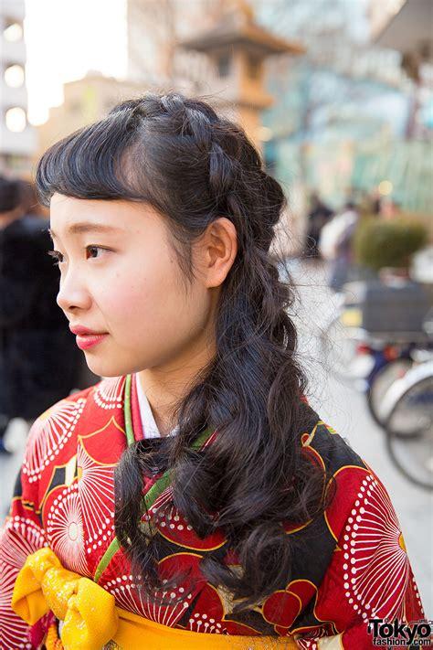 pretty floral print kimono braids hairstyle  harajuku