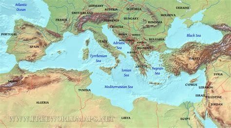 Map For Mediterranean Sea On World