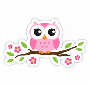 Cute pink cartoon baby owl sitting on a branch with leaves ...