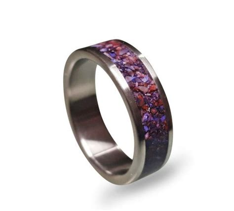 mens titanium ring  purple crushed amethyst inlay