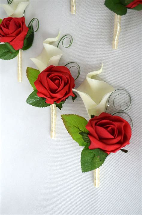 Back Alley Furniture by Calla Lilies And Rose Wedding Buttonholes Red Ivory
