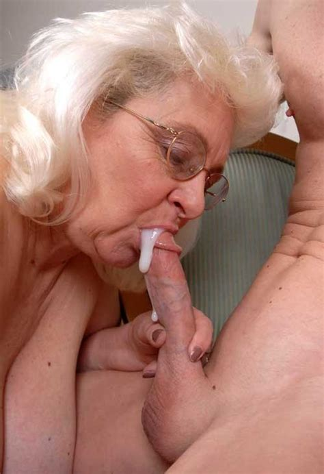 Old Lady Blows Young Stud Mature Porn Pics