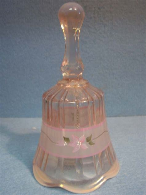 Pink Fenton Glass Bell Hand Painted