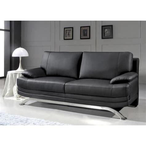 canapé cuir design canapé 3 places en cuir noir design pied chromé achat