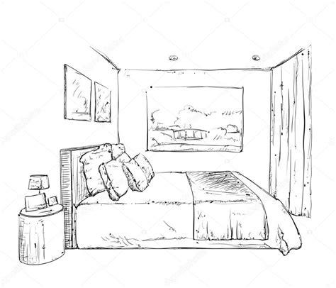 la chambre à coucher gogh bedroom interior sketch stock vector