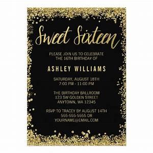 Sweet 16 Black Gold Glitter Birthday Card Zazzle com