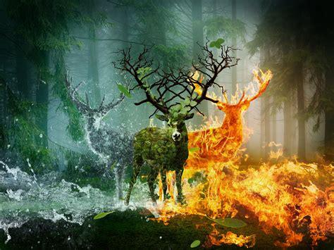 deer, Fire, Water, Horns, Earth, Fantasy, Animals ...