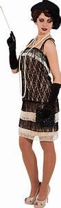 20er Jahre Outfit Damen : charlestonkleid schwarz beige 20er jahre kost m damenkleid mit fransen ~ Frokenaadalensverden.com Haus und Dekorationen