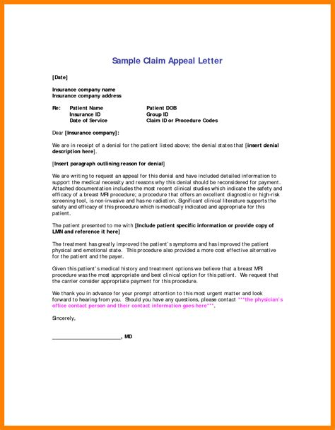 medical billing appeal letter format appeal letter