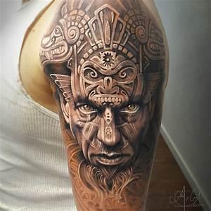 Aztec Warrior Portrait & Animal Carvings | Best tattoo ...