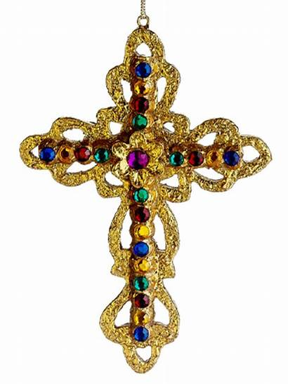 Cross Christmas Ornament Gold Jeweled Rounded Edge
