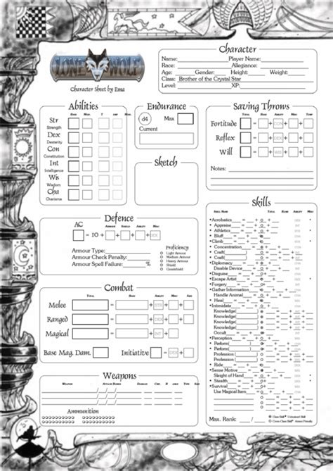 lone wolf character sheet brother   crystal star