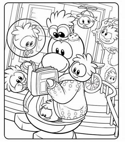 Coloring Penguin Club Pages Puffles Puffle Crowding