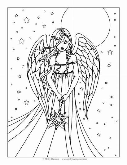Coloring Angel Pages Adults Teens Fairy Mermaid