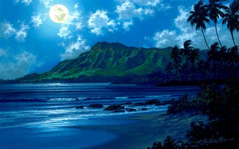 Beach At Night With Moon Wallpaper Moonlight Desktop Wallpapers This Wallpaper