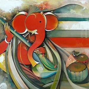 Buy Ganesha canvas paintings | abstract ganesha paintings