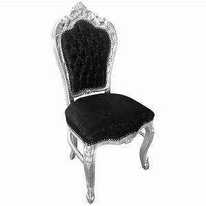 Chaise Style Baroque : chaise de style baroque rococo tissu satin noir et bois argent ~ Teatrodelosmanantiales.com Idées de Décoration