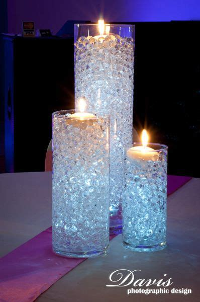 combination of purple and clear beads with lights shining