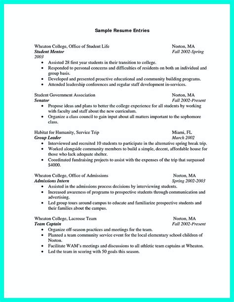 College Resume by Cool Sle Of College Graduate Resume With No Experience