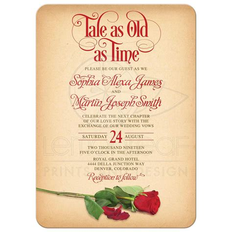 fairy tale    time wedding invitation vintage