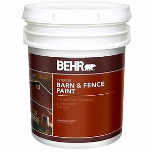 Behr 5 gal red exterior barn and fence paint 2505 the for Behr barn and fence paint colors