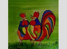 Lustige Hühner 2 Grün, Wiese, Ölmalerei, Hahn von Renate