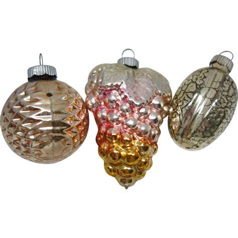 three vintage shiny brite figural glass christmas